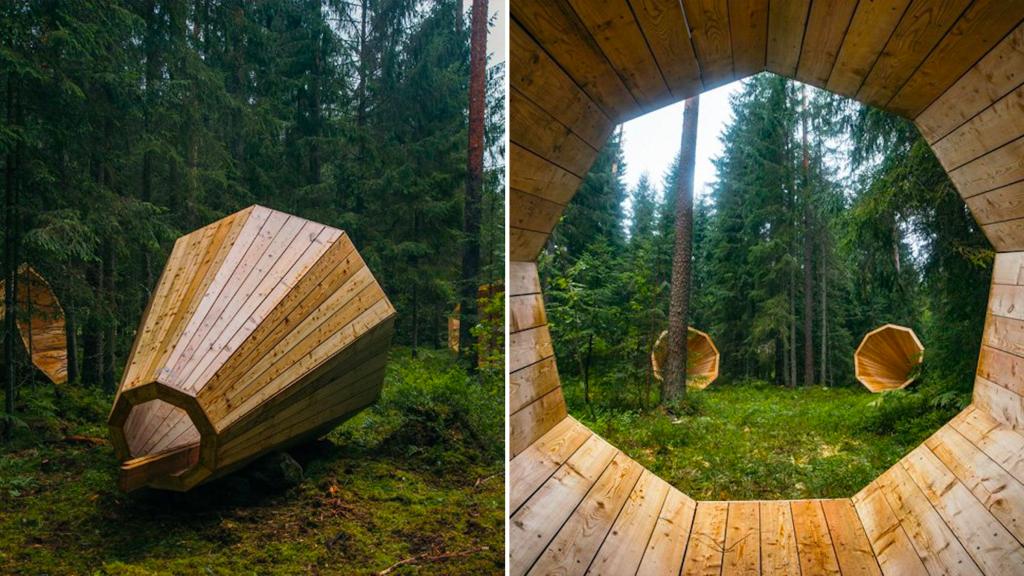 Giant Wooden Megaphones Amplify Forest Sounds
